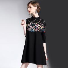 大人気新作レースアップドレス刺繍 ファッション  ワンピース 婚式  タイト  ミディアム パーティードレス 大きいサイズ 上品 お呼ばれ