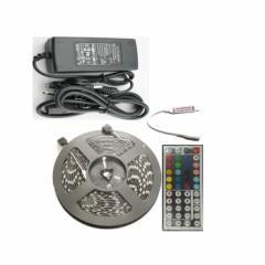 【e-auto fun】LEDテープ ライト 5m RGB300連 12V 防水仕様  リモコン配線付 カット可  外装パーツ 専用アダプター付け