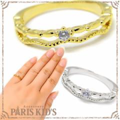 【送料無料】デザイン 2連風 光石 リング ピンキーリング 指輪 レディース アクセサリー ゴールド シルバー 重ね付け 華奢 シンプル 凛