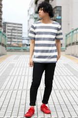 夏のTシャツカジュアルボーダーコーデ