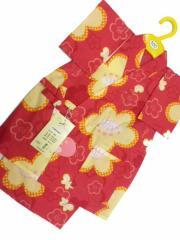 日本製 3〜4歳用 女物 子供甚平 100サイズ 赤地 梅柄 No.29716
