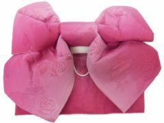 浴衣初心者でも楽々 一人で簡単に結べる 浴衣帯 軽装帯 作り帯 帯 簡単 蝶帯 ローズピンク地 ボカシ バラ 柄no2909