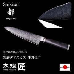 包丁 牛刀包丁 家庭用 33層 ダマスカス キッチンナイフ 洋 和 関 日本製 180mm  肉 野菜用