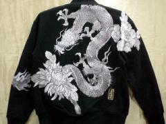 絡繰魂・粋 和柄  裏毛ジップブルゾン 白龍に牡丹刺繍 85万針刺繍 KARAKURI