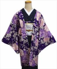 小粋なH・L(アッシュエル)洗える長羽織紫地牡丹桜(フリー)和装着物冬の必需品