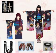 LUGANO 地獄少女 三鼎 閻魔 愛(えんま あい) 風  コスプレ衣装+ウィッグ+靴+小物 フルセット  ハロウィン 仮装