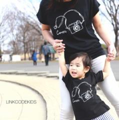ママとパパとキッズのリンクコーデ Tシャツ[CAMERA] お揃い ペアルック ペアtシャツ 親子服 家族オソロ 大人 ファミリー ギフト