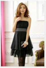 即納SALE結婚式ドレスお呼ばれワンピースシフォン素材ウエストビーズ付きミニ2段フレアワンピ[M][黒]