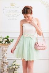 即納SALE結婚式ドレスお呼ばれワンピース上品バイカラードーリーチュールミニドレスワンピース[F][白×緑]