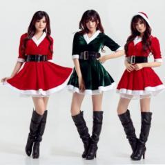クリスマス サンタコス  衣装  コスプレ サンタクロース 仮装コスチューム 2set Vネックワンピースドレス[F][赤/緑]