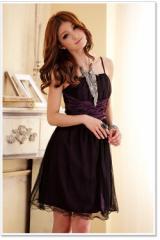 即納SALE結婚式ドレスお呼ばれワンピースダブルチュールフレアミニドレスワンピ大きいサイズ[2L][紫]
