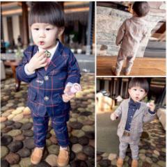 子供 タキシード フォーマルウェア 男の子スーツ キッズ ジュニア紳士服 ベビースーツ誕生日・チェック柄上下セット