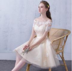 パーティドレス ミニ オフショルダー 結婚式 花嫁 二次会 ウェディングドレス イブニングドレス お呼ばれ 着痩せ エレガント