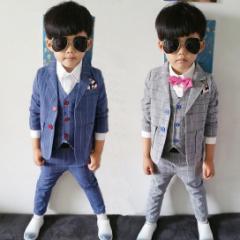 子供スーツ/長袖スーツ+ベスト+長ズボン/3点セット/男の子 スーツ/フォーマル/ベスト風/上下セット/セットアップ