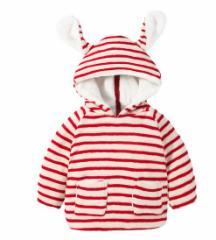 新生児 キッズ コート 0〜1歳 ストライプ柄 兄弟お揃い 可愛い 部屋着 厚手 あったか