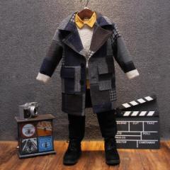 キッズ 男の子 冬 厚手コート ロング 中綿入り 防寒 二つボタン ネイビー 子供服