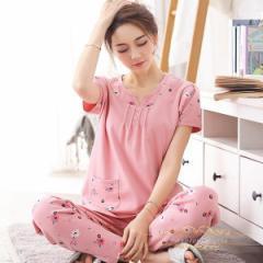 レディース可愛い綿パジャマ夏 部屋着 寝間着 上下セットナイトウェア ルームウェア 柔らかい半袖