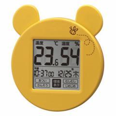 ◆風邪・熱中症対策に! リズム時計 【プーさんナビ 高精度 温・湿度計】ディズニー 環境目安表示付き 掛置兼用 8RD214MC33