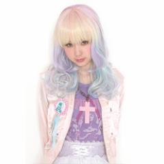 ■送料無料■ LLL カーリー ヘヴン 色:紫 ×レインボー ■Lunatic Lemony Lollipop■ロング カール ウィッグ【お取り寄せ】