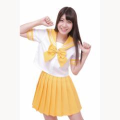 ■送料無料■カラーセーラー 色:黄色×白 黄リボン サイズ:M ■学生服・コスプレ・セーラー服・JK・女子高生【お取り寄せ】