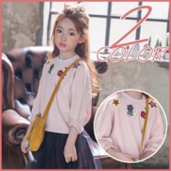 子供服 キッズ 子供 長袖 トレーナー 薄手 トップス 上着 シャツ ピンク ホワイト ウェア シンプル 刺繍 アウター kd1163