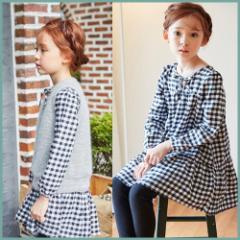子供服 キッズ 子供 女の子 長袖 シャツ ロングシャツ ワンピース シンプル スカート フォーマル チェック kd1060