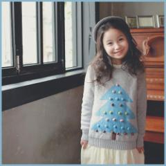 子供服 キッズ ジュニア 子供 長袖 セーター ウール アウター ロング あったか 厚手 柔軟 クリスマス シンプル kd1348