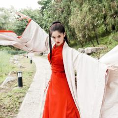 new cos  ハロウィン  コスプレ仮装  チャイナドレス  漢服  中華服  女性用  古風  振袖 引き裾  神社  巫女