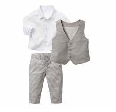男の子 フォーマル 3点セット ベスト、シャツ、ズボン 80~120 スーツ セットアップ  子供 男児 キッズ グレー