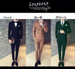 スーツメンズ ビジネススーツ ダブルボタン 春夏物 3点セットウォッシャブル スタイリッシュ メンズスーツ スリムスーツ suit