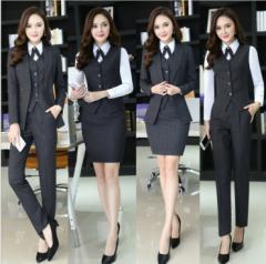 激安 スーツ オフィス ビジネス リクルートスーツ 4点セット 長袖スーツ+長パンツ+長袖シャツ+ベスト 美容師 大きいサイズ