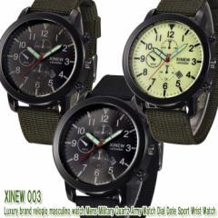 【送料無料】XINEW ミリタリー アーミー クロノ ウォッチ 腕時計  NATO バンド/XINEW-003【BM-W】