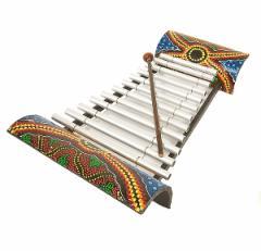 バンブーとアルミパイプの鉄琴 12音 ドットペイント アジアン雑貨 バリ雑貨 インテリア 竹製 バンブー アルミ 鉄琴 楽器