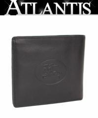 美品! バーバリー 二つ折り コンパクト 財布 レザー 黒