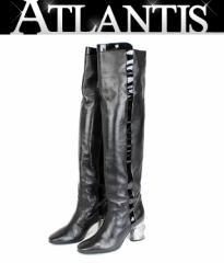 美品 シャネル ロングブーツ 靴 レディース ラム パテント 黒 size35 1/2