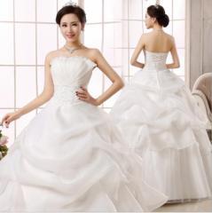 新作 ウェディングドレス 白 Aラインドレス 二次会 花嫁 パーティードレス 披露宴 ブライダル 結婚式 ロングドレス エンパイアドレス