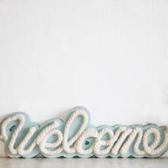 【マリン雑貨】  翌日出荷 リゾート雑貨 welcome スタンド ナチュラル雑貨 インテリア小物