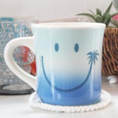 【キッチン雑貨】 翌日出荷 スマイルグラデーションカップ ブルー マリン雑貨 ナチュラル マグカップ コップ にこちゃん