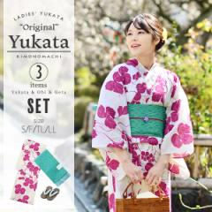 京都きもの町オリジナル 浴衣セット「ラズベリーレッド 瓢箪」レトロ 女性浴衣3点セット 綿浴衣