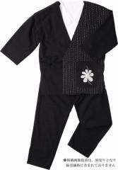 【樹亜羅-一杢】婦人作務衣-麻100% 黒に白刺し子 いろどり-3