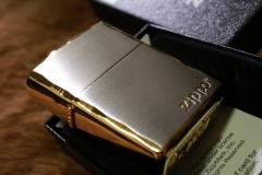 【Armor ZIPPO】 重厚アーマー ジッポロゴ シルバーサテン&ゴールド 両面コーナーカット彫刻 金 銀 Zippo シンプル アーマージッポ