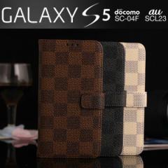 Galaxy S5 SC-04F SCL23 ケース モノトーンチェック柄 格子柄 市松模様 レザー 手帳型ケース スマホケース カバー s5 sc-04f scl23
