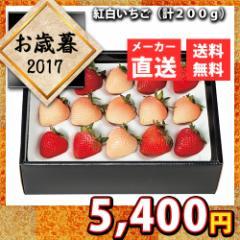 送料無料 メーカー直送 代引不可 お歳暮 紅白いちご 計200g 果物 フルーツ 白いちご いちご 苺 イチゴ お取り寄せ