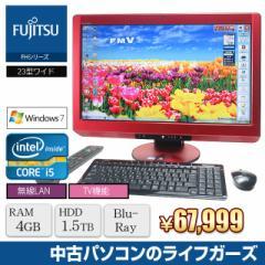 中古PC 液晶一体型PC Windows7 FUJITSU FH76/CD Core i5 2520M RAM4GB HDD1500GB ブルーレイ 23型ワイド 地デジ 無線LAN office付属 982