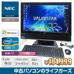 液晶一体型PC Windows7 NEC Core i7-2760QM メモリ8GB HDD2TB SSD62GB ブルーレイ 23型ワイド 地デジ 3D 無線LAN office 中古PC 2521