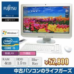 液晶一体型PC Windows7 FUJITSU FH76/CD Core i5 2520M メモリ4GB HDD1.5TB ブルーレイ 23型ワイド 地デジ 無線LAN office 中古PC 1856