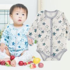 ベビー服 赤ちゃん 服 ベビー ロンパース 男の子 60 70 80 保育園  手描き星柄長袖前開きロンパース