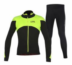 LZLサイクルジャージ上下セット/男性用自転車サイクルウェア裏起毛長袖/春秋冬サイクルジャージビブタイプ 普通タイプ
