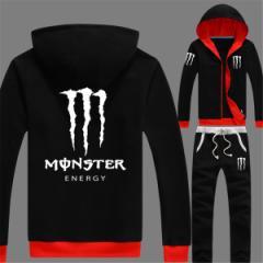 Monster Energy スタジャン メンズ ブルゾン ジャンパー 上下セットスタジアムジャケット スウェット ジャージ セットアップ