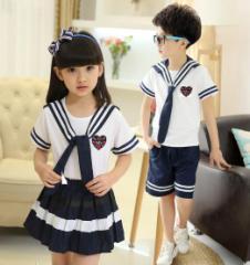 子供服 ショートパンツ半袖Tシャツ+プリーツスカートor短パン二点セット海軍風キッズ男の子 女の子110-160セーラー襟 入園式 入学式